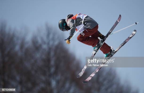 Brita Sigourney of USA during the women's Halfpipe Freestyle Skiing at Phoenix Snow Park on February 20 2018 in Pyeongchanggun South Korea
