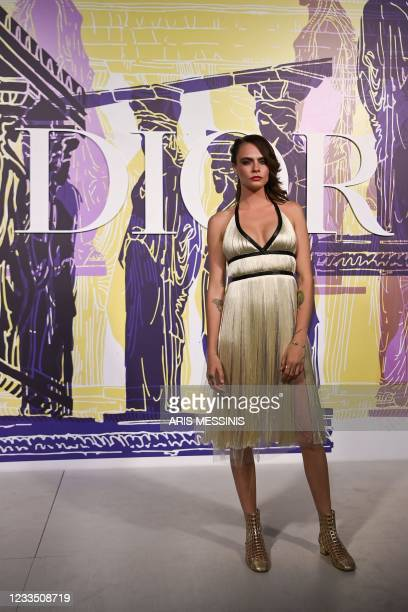 Britain actress and model Cara Delevingne poses during the photocall before the 2022 Dior Croisiere fashion show, at the Panathenaic Stadium, in...