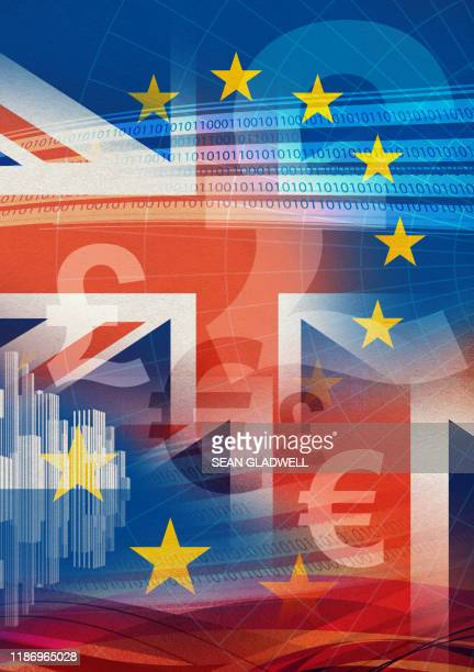 britain and europe - british and eu flag stock pictures, royalty-free photos & images