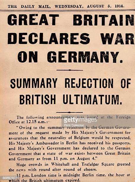 Britain declares war on Germany 1914 The Daily Mail of 5 August reports the story From The Royal Jubilee Book 19101935 [Associated Newspapers Ltd...