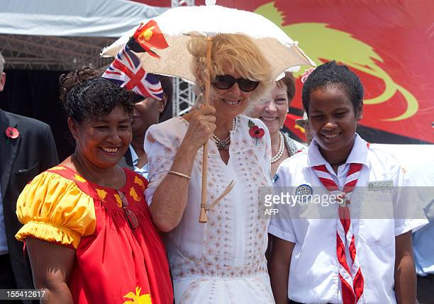 Britain Duchess of Cornwall Camilla talks to locals after attending an ecumenical Service of Worship lead by The Bishop of Port Moresby at the Sir...