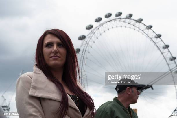 Britain First Deputy Leader Jayda Fransen at March Against Terrorism rally on April 01 2017 in London England Supporters of farright political...