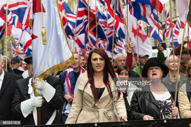 Britain First Deputy Leader Jayda Fransen leads March Against Terrorism on April 01 2017 in London England Supporters of farright political movement...