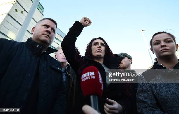 Britain First leader Paul Golding and deputy leader Jayda Fransen talk to the media outside Belfast Laganside Courts after Fransen was released on...