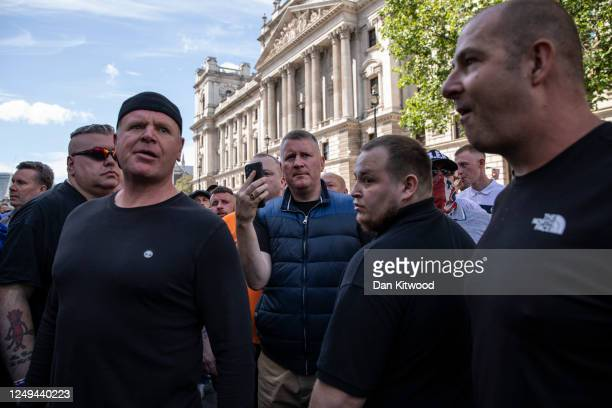 Britain First leader Paul Golding joins far-right activists gathering around London's statues on June 13, 2020 in London, England. Following a social...
