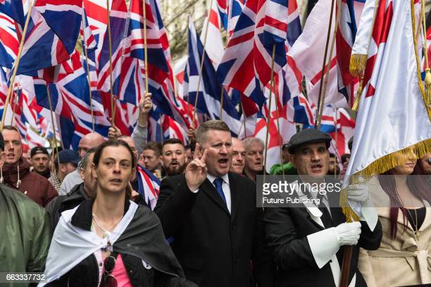 Britain First Leader Paul Golding leads March Against Terrorism on April 01 2017 in London England Supporters of farright political movement Britain...