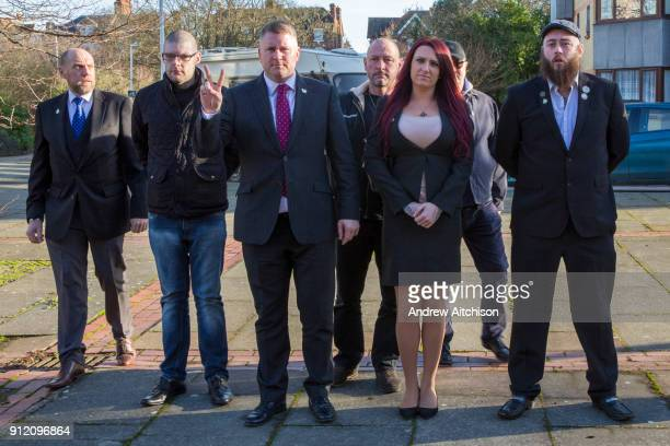 Britain First leaders Paul Golding and deputy leader Jayda Fransen and entourage arriving at Folkestone Magistrate Court on 30th January 2018 in...
