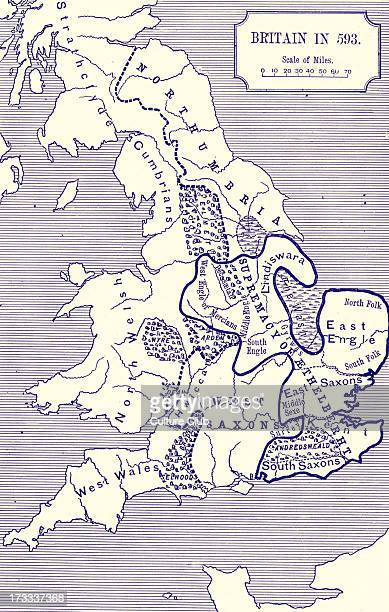 Britain in 593 AD Showing the kingdoms of Britain Northumbria Supremecy ogf Aethelberth East Engle and West Saxon