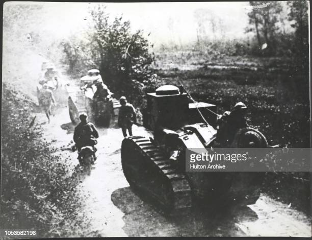 Britain invented the tank in the Great War, and other countries soon copied our design, On the right are French tanks.