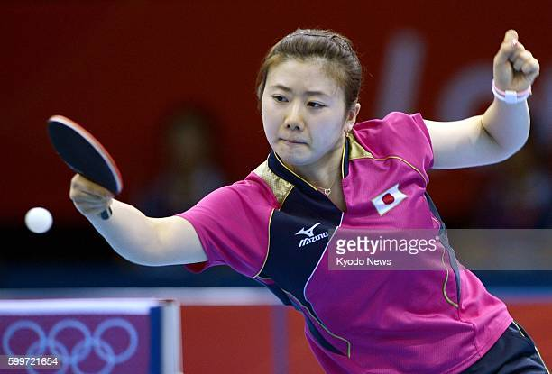 LONDON Britain Japan's Ai Fukuhara plays against Russia's Anna Tikhomirova in the third round of the women's table tennis singles match at ExCel...