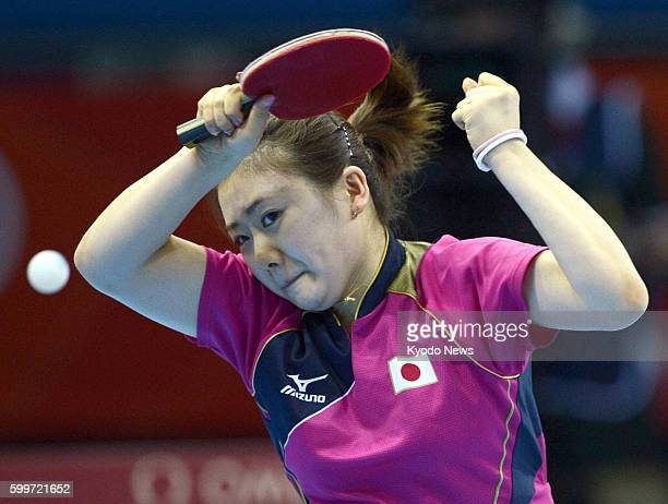 LONDON Britain Japan's Ai Fukuhara returns a shot against Russia's Anna Tikhomirova in the third round of the women's table tennis singles match at...
