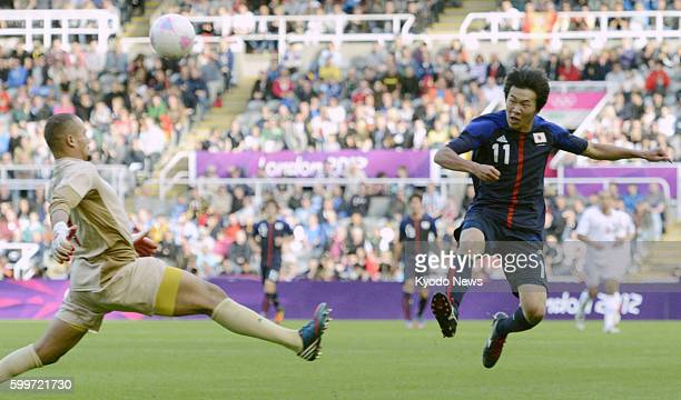 NEWCASTLE Britain Japan's Kensuke Nagai scores his team's winning goal in the second half of a Group D men's soccer match against Morocco at St...