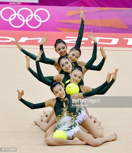 LONDON Britain Japan's Rie Matsubara Natsuki Fukase Kotono Tanaka Airi Hatakeyama and Nina Saeed Yokota perform with balls during the rhythmic...