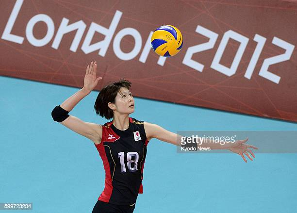 LONDON Britain Japan's Saori Kimura serves during the first set of a match against the Dominican Republic in the Olympic women's volleyball...