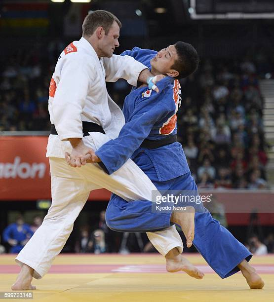 LONDON Britain Japan's Takahiro Nakai fights Germany's Ole Bischof during the quarterfinals in the men's judo 81kilogram category at the 2012 London...