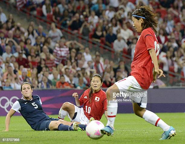 LONDON Britain Japan's Yuki Ogimi scores a goal against the United States during the second half of the women's soccer final at Wembley Stadium at...