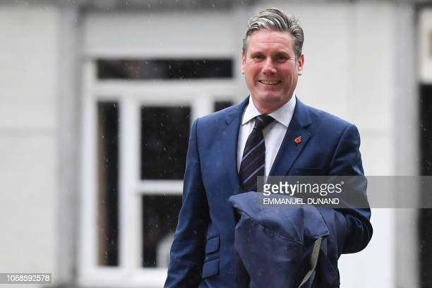 Britain Labour Party Brexit spokesman Keir Starmer arrives at the European Commission building prior to meet with EU officials in Brussels on...