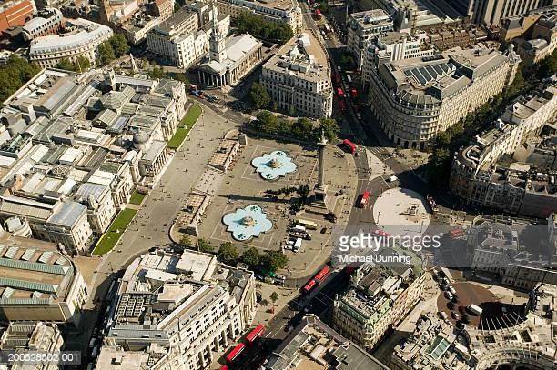 britain, london, trafalgar square aerial view - トラファルガー広場 ストックフォトと画像