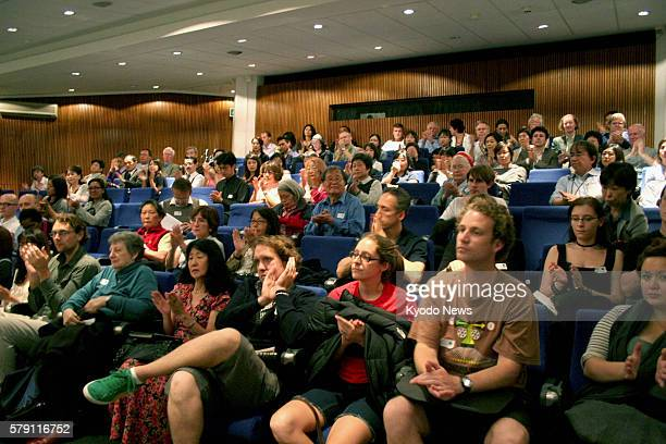 LONDON Britain Members of the audience at the screening of two documentary films about Tsutomu Yamaguchi a survivor of the US atomic bombings of...