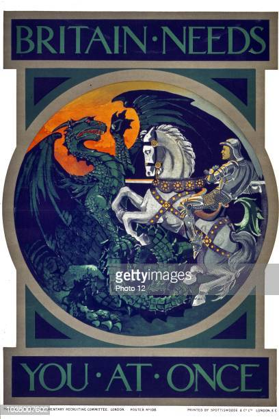Britain needs you at once Poster showing St George slaying the dragon scene in roundel format published in the First World War by the British...