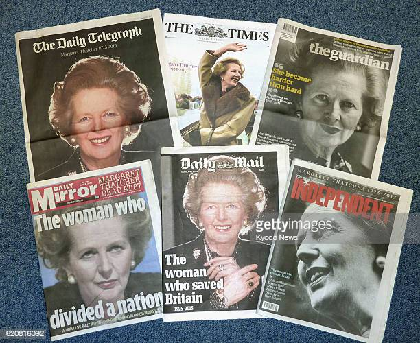LONDON Britain Photo taken April 9 shows British newspapers' front pages reporting on the death of former Prime Minister Margaret Thatcher the...