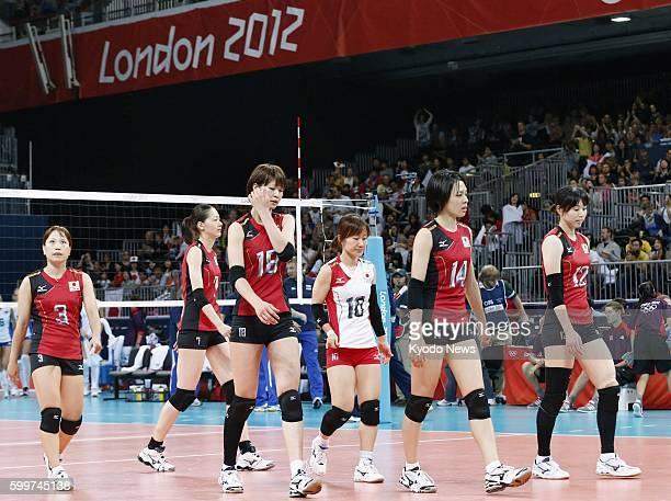 LONDON Britain Players of the Japanese team Yoshie Takeshita Kaori Inoue Saori Kimura Yuko Sano Saori Sakoda and Risa Shinnabe leave the court after...