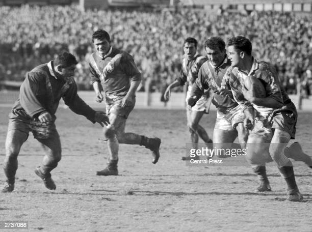 Britain plays France in the Rugby League World Cup in Sydney 19th June 1957