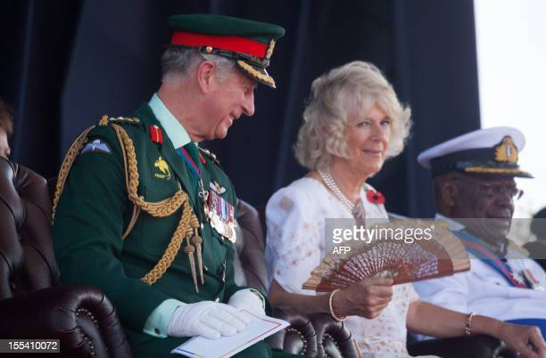 Britain Prince Charles and his wife Camilla attend an ecumenical Service of Worship lead by The Bishop of Port Moresby at the Sir John Guise Stadium...