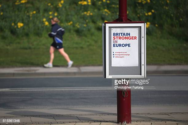 A Britain Stronger In Europe campaign poster adorns a lamp post outside the York Barbican during the Liberal Democrats spring conference on March 13...