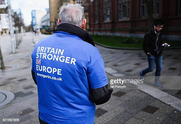 Britain Stronger In Europe supporter hands out flyers as he waits for the campaign bus to arrive at Northumbria University's City Campus on April 16,...