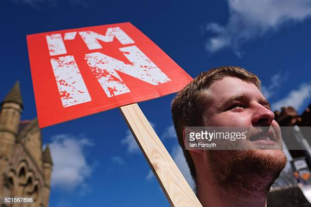 Britain Stronger In Europe supporter holds a placard as the campaign bus arrives at Northumbria University's City Campus on April 16 2016 in...