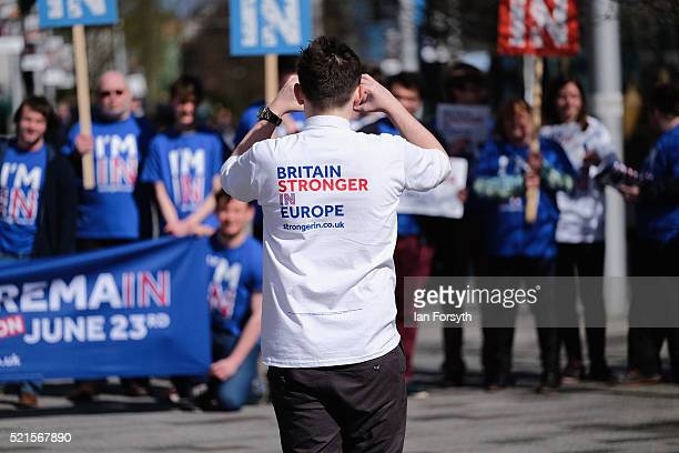 Britain Stronger In Europe supporters pose for a pictures as they wait for the campaign bus to arrive at Northumbria University's City Campus on...