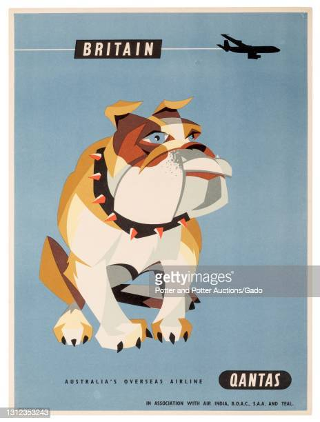"""""""Britain"""" travel poster depicting a silhouetted jet flying over an English bulldog wearing a spiked collar, illustrated by Harry Rogers for Qantas,..."""