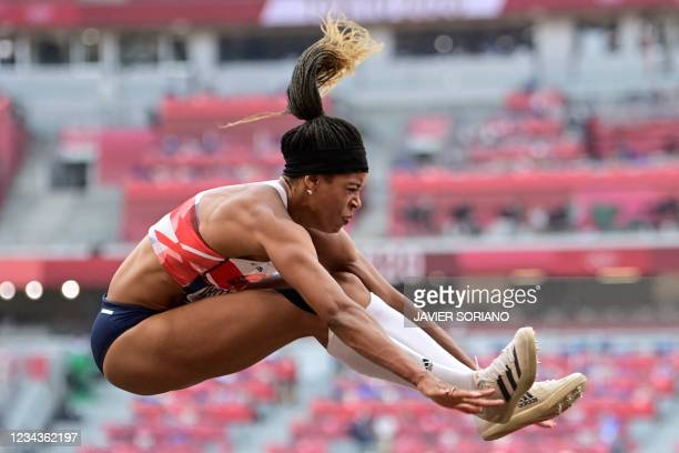 Britain's Abigail Irozuru competes in the women's long jump qualification during the Tokyo 2020 Olympic Games at the Olympic Stadium in Tokyo on...