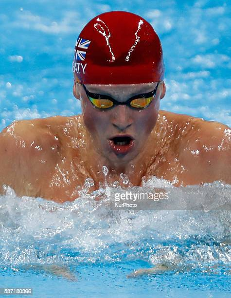 Britain's Adam Peaty competes during the swimming final of men's 100m breaststroke at the 2016 Rio Olympic Games in Rio de Janeiro Brazil on Aug 7...