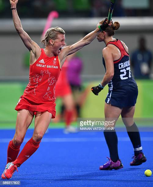 Britain's Alex Danson celebrates scoring a goal during the women's field hockey Britain vs the USA match of the Rio 2016 Olympics Games at the...