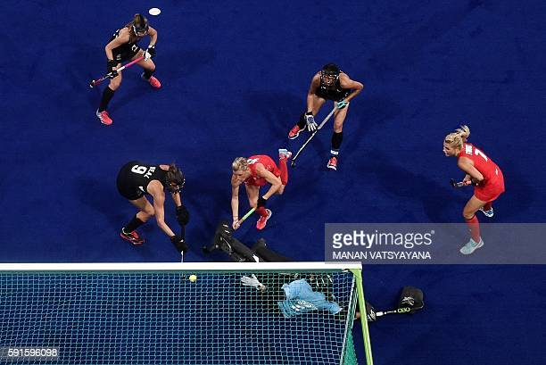 Britain's Alex Danson scores the opening goal during the women's semifinal field hockey New Zealand vs Britain match of the Rio 2016 Olympics Games...