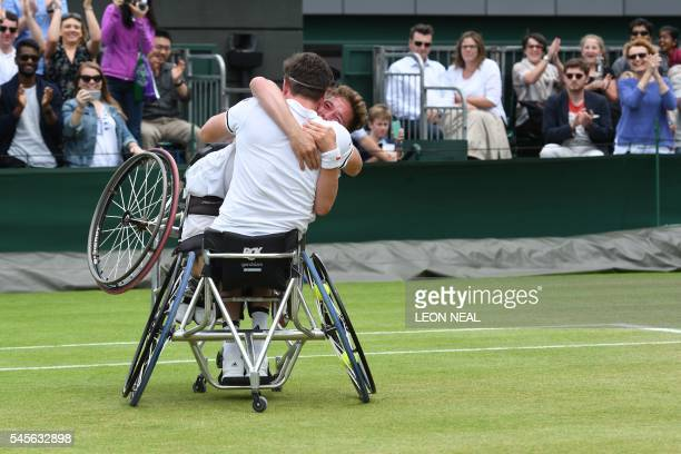 Britain's Alfie Hewett and Gordon Reid celebrate beating France's Stephane Houdet and Nicolas Peifer in the final of the men's wheelchair doubles on...