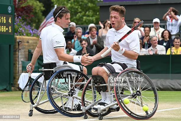 Britain's Alfie Hewett and his partner Gordon Reid touch hands between point against France's Stephane Houdet and Nicolas Peifer in the final of the...