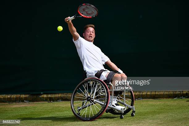 Britain's Alfie Hewett plays Belgium's Joachim Gerard in their men's singles wheelchair match on the eleventh day of the 2016 Wimbledon Championships...