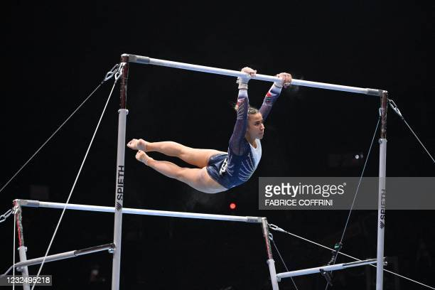 Britain's Amelie Morgan competes in the Women's uneven bars apparatus final of the 2021 European Artistic Gymnastics Championships at the St...
