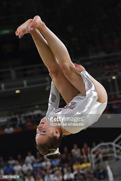 Britain's Amy Tinkler competes in the women's floor event final of the Artistic Gymnastics at the Olympic Arena during the Rio 2016 Olympic Games in...
