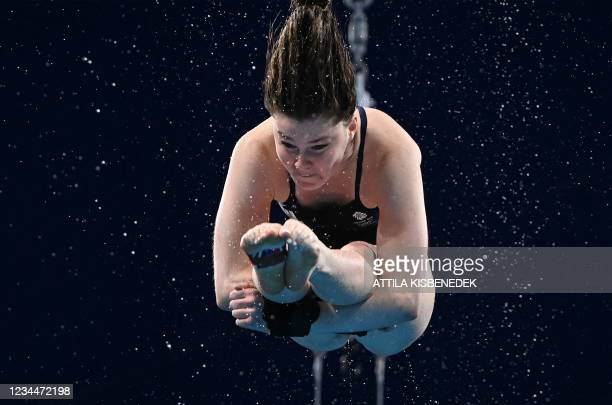 Britain's Andrea Spendolini Sirieix competes in the women's 10m platform diving final event during the Tokyo 2020 Olympic Games at the Tokyo Aquatics...