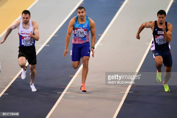 Britain's Andrew Robertson Britain's Adam Gemili and USA's Bryce Robinson compete in the men's 60metres heats at the Glasgow Indoor Grand Prix...