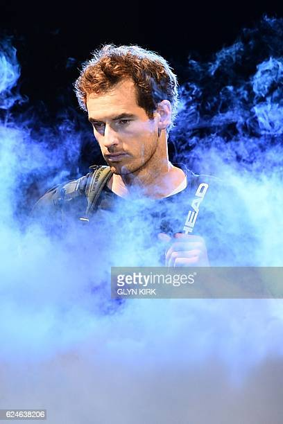 Britain's Andy Murray arrives on court to play against Serbia's Novak Djokovic during the men's singles final on the eighth and final day of the ATP...