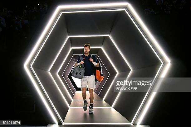Britain's Andy Murray arrives on court to train at the ATP World Tour Masters 1000 indoor tournament in Paris on November 5 2016 Britain's Andy...