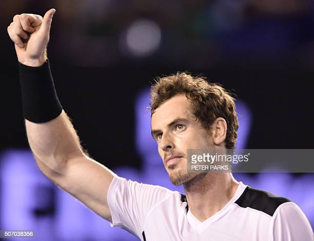 Britain's Andy Murray celebrates after victory in his men's singles match against Spain's David Ferrer on day ten of the 2016 Australian Open tennis...