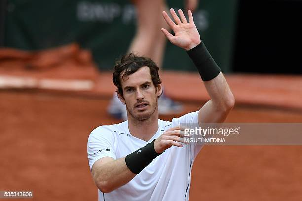 Britain's Andy Murray celebrates after winning his men's fourth round match against US player John Isner at the Roland Garros 2016 French Tennis Open...