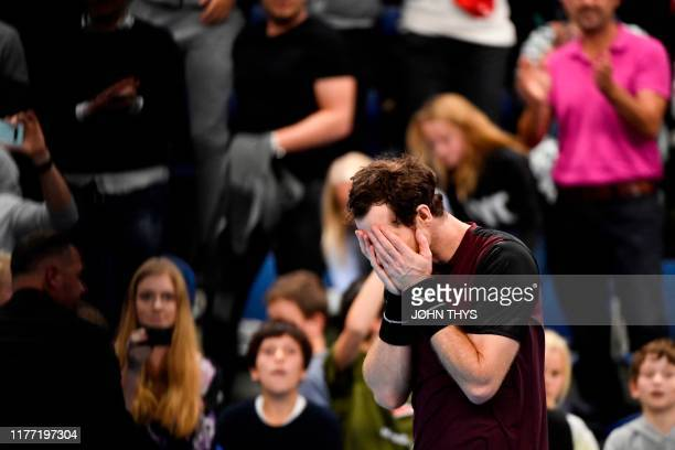 Britain's Andy Murray celebrates and reacts after winning against Switzerland's Stanislas Wawrinka in their men's single tennis final match of the...