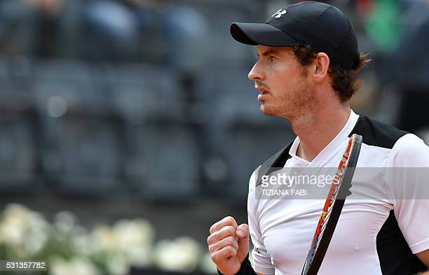 Britain's Andy Murray celebrates at the end of the semifinal tennis match against France's Lucas Pouille during the ATP Tennis Open tournament at the...
